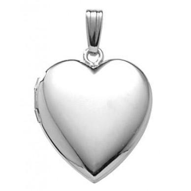14k White Gold Heart Locket - Claire