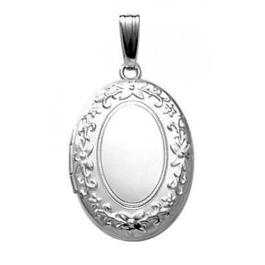 Sterling Silver Oval Embossed Locket - Rebecca