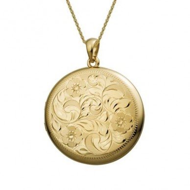14k Yellow Gold Large Floral Round Locket