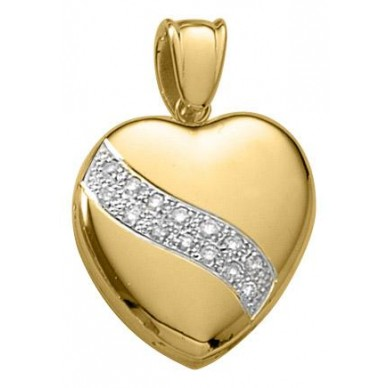 14k Yellow Gold Diamond Swirl Heart Locket