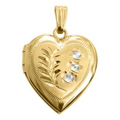 Gold Filled Two Tone Floral Design w/ Diamond Heart Locket
