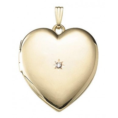 Yellow Gold Heart Locket with Diamond - Louise