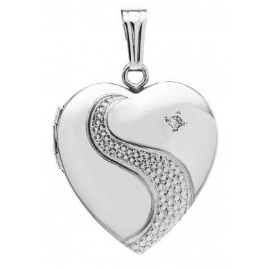 Sterling Silver Heart Locket w/ Diamond