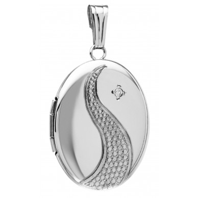Sterling Silver w/ Diamond Oval Locket
