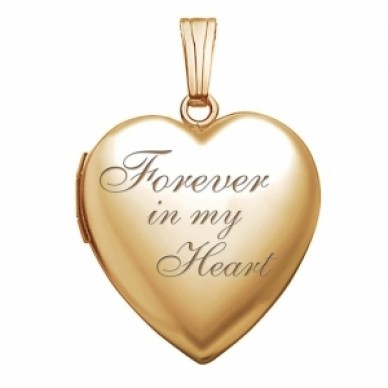 """14K Gold """"Forever In My Heart"""" Photo Locket"""