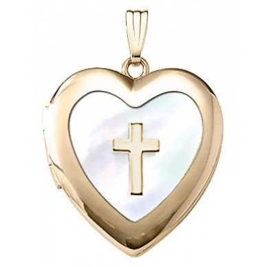 14K Gold Filled Mother of Pearl Heart Locket