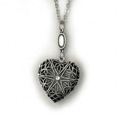 Silver Plated Heart Locket w/ Diamond - Laynee