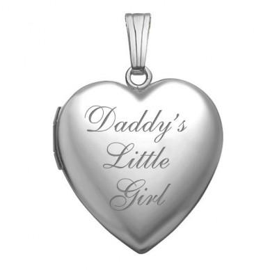 Sterling Silver Daddy's Little Girl Heart Photo Locket