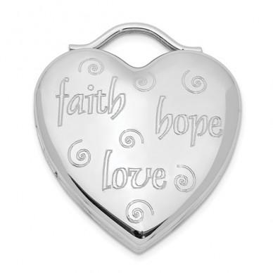 Sterling Silver Faith, Hope, Love Heart Photo Locket