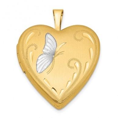14k Gold Filled Butterfly Heart Photo Locket
