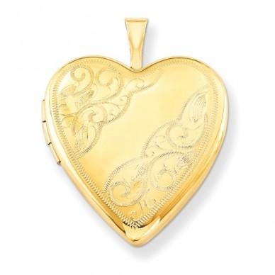 14k Gold Filled Floral Heart Photo Locket