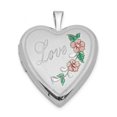 """Sterling Silver Floral """"Love"""" Heart Photo Locket"""
