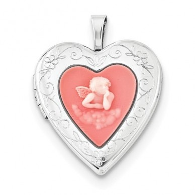 Sterling Silver Mother's Silhouette Heart Locket