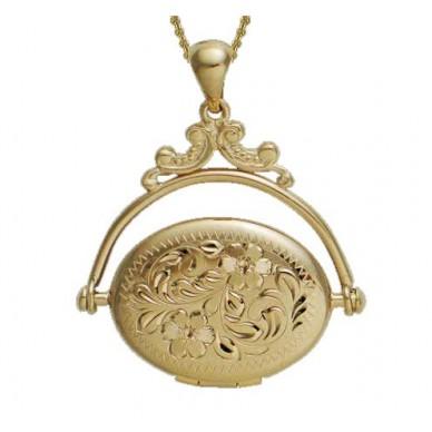 14K Gold Floral Oval Locket - Betsy