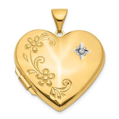 14K Gold Floral Heart With Diamond Photo Locket