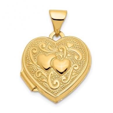 14K Gold Two Small Hearts Floral Heart Photo Locket