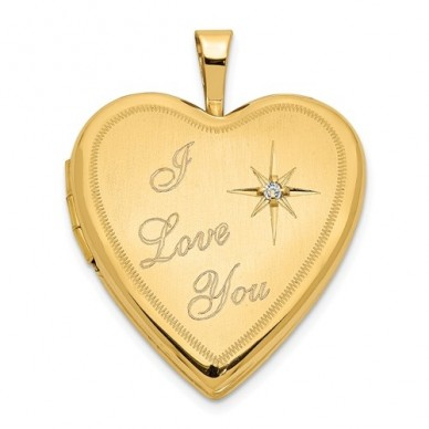 "14K Gold ""I Love You"" With Diamond Heart Photo Locket"