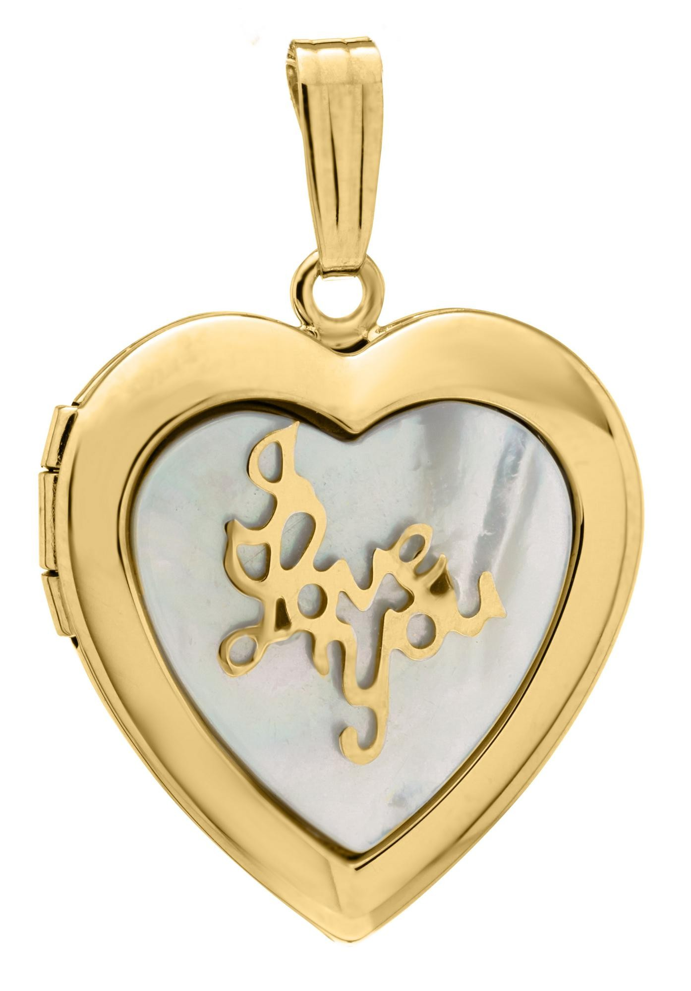 treasure finish cubic heart locket lockets image steel gold yellow zirconia