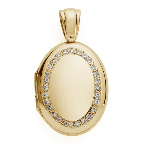18K Gold w/ Diamonds Oval Locket - Frances