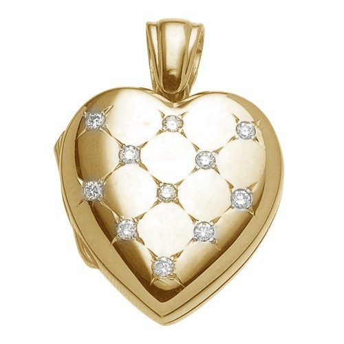 18k Yellow Gold Diamond Heart Locket - Morgan