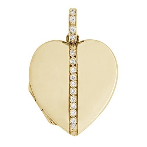 18k Yellow Gold Diamond Heart Locket - Addison