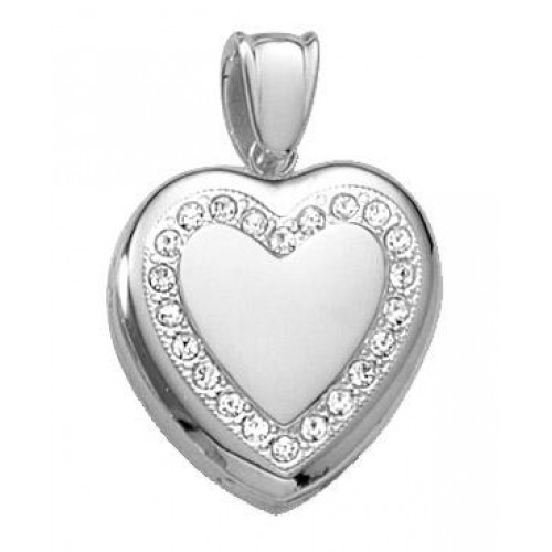 14K White Gold w/ Diamond Heart Locket - Sylvia