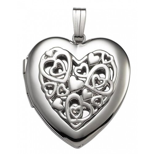 Sterling Silver w/ Punctured Design Heart Locket