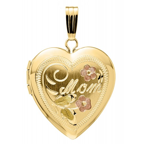 14K Gold Mother Heart Locket