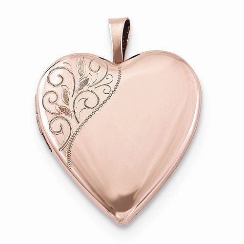 Rose Gold Heart Locket w/ Floral Border