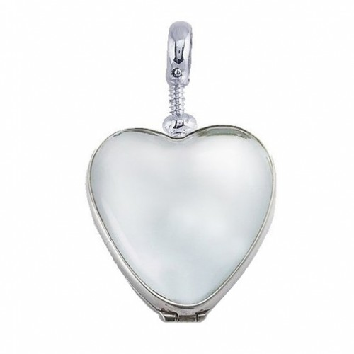 Sterling Silver Heart Glass Dome Locket