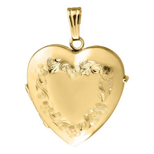 14K Gold Filled Petals 4 Picture Family Heart Locket