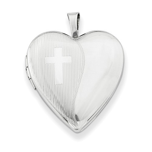 Sterling Silver 2 Tone Heart Locket with Cross