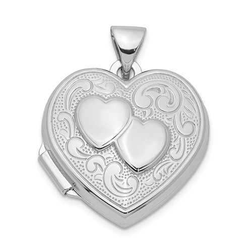 Sterling Silver Two Hearts Heart Photo Locket