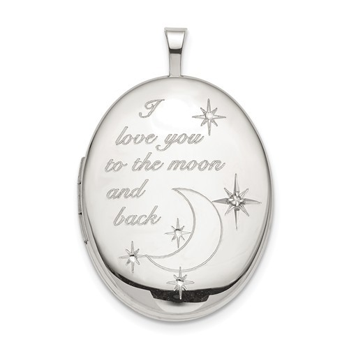 """Sterling Silver """"To the moon and back"""" Diamond Oval Photo Locket"""