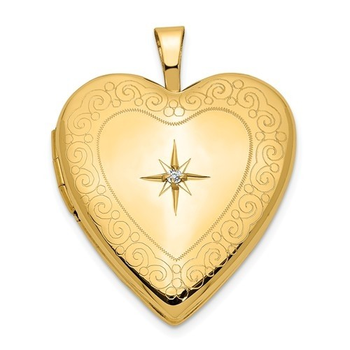14K Gold Starburst Diamond Heart Photo Locket