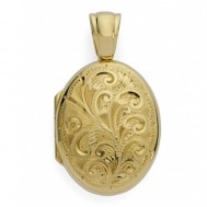 18k Yellow Gold Floral Oval Locket