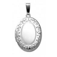 Sterling Silver Oval Embossed Locket - Rebecca