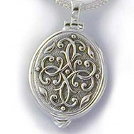 Sterling Silver Antique Floral Oval Locket