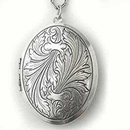 Silver Tone Large Antique Oval Locket - Fiona