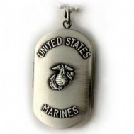 Silver Plated Brass U.S. Marine Corps Dogtag Locket