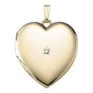 Yellow Gold Heart Locket with Diamond - Louise