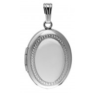 Sterling Silver Hand Engraved Oval Locket - Lizbeth
