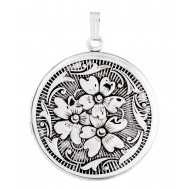 Sterling SIlver Floral Round Locket - Carmen
