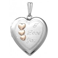 14k White Gold ' Love ' Heart Locket