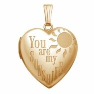 "14K Gold ""You Are My Sunshine"" Heart Photo Locket"