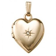 18k Yellow Gold Childrens Diamond Heart Locket