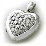 14k White Gold Diamond Quilt Heart Locket - Marie