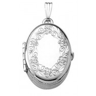 Sterling Silver 4 Picture Floral Oval Locket - Amelia
