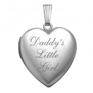 Sterling Silver Daddy's Little Girl Heart Photo Locket