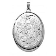 Large Sterling Silver Oval Locket - Marilee